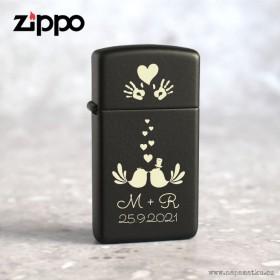 Originál Zippo zapalovač Black Matte s grravírováním vlastního návrhu